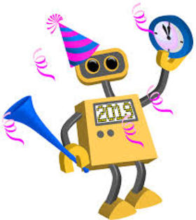 This funny robot will bring you happiness. Ecard. Happy New Year 2019. Robot With happiness. Clock. Five minutes to New Year. Free Download 2021 greeting card