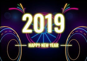 Happy New Year 2019 with neon figures. Magic ecard Happy New Year 2019. Black background. Neon letters Free Download 2021 greeting card