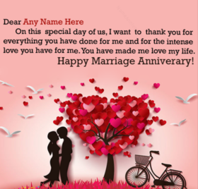 Ecard for anniversary. Greeting card. You have made me love my life. Free Download 2021 greeting card