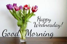 Happy Wednesday, sweetie. This bouquet for you. Happy Wednesday and Good Morning postcard for beloved ones. Vase with tulips in the morning for you. Good wednesday! Free Download 2018 greeting card