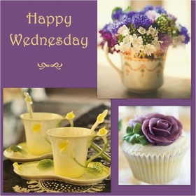 Good wednesday, Dad. This postcard is for you. Beautiful postcard in purple tones with cups of tea and flowers. Have a nice day, beloved daddy. Good morning, good week to you. Free Download 2021 greeting card