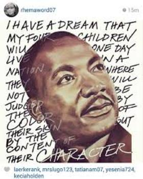 Martin Luther King Day! Ecard. I have a dream that my four little children will one day live in a nation where they will not be judged by the color of their skin, but by the content of their character. Free Download 2019 greeting card