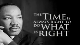Card of MLK speech. The time is always right to do what is right - MLK. Free Download 2019 greeting card