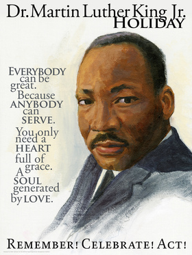Martin Luther King Day 2019. Everybody can be great. Because anybody can serve. Free Download 2019 greeting card