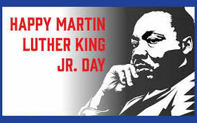 Happy Martin Luther King Day 2019. Ecard. Martin Luther King Jr day. White and black. Free Download 2019 greeting card