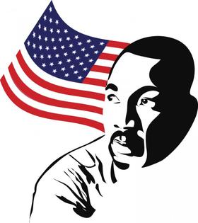 MLK day celebrating. Ecard. Black and white pic of Martin Luther King. USA flag. Free Download 2019 greeting card
