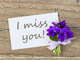 Miss You ecard with a purple flower. Purple lilac. Ecard for You. Free Download 2021 greeting card