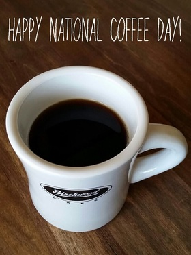Happy National coffee day, dear mom! New Ecard. Postcard with a cup of strong coffee. Decaffeinated coffee. Good morning. Free Download 2021 greeting card