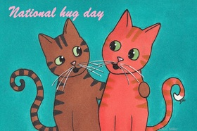National Hug Day!! Kittens. Ecards for you... National Hug Day... Kittens... Hugs... Love... Loving eyes... Free Download 2021 greeting card