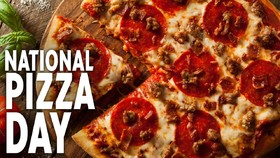 National pizza day card from beloved mother. Download a free card with pizza. A piece of Pizza. appetizing pizza. Favorite dish. The most delicious dish. Free Download 2019 greeting card