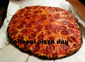 Happy National pizza day to you, friend. Share pizza with a friend. Friendship. Greeting card for friends. Tasty pizza. Dinner. Dinner. Free Download 2019 greeting card