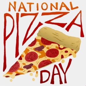 National pizza day! That's for you, my friend. National pizza day! Greeting card. Have a nice day . Postcard for family and friends... Free Download 2019 greeting card