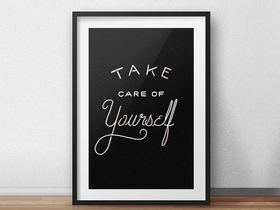 Reminder: Take Care Of Yourself! New ecard. Reminder in a frame: Take Care Of Yourself! Card. Free Download 2019 greeting card