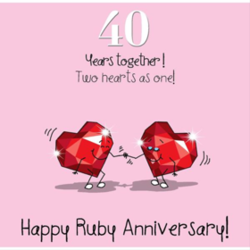 Happy ruby anniversary, dear husband! Funny postcard with two ruby hearts to beloved husband. Forty years together. Two hearts as one. I will love you forever. Free Download 2021 greeting card
