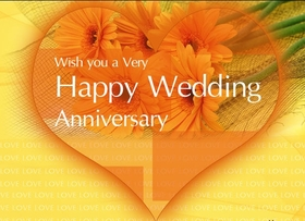 Wishes for Wedding anniversary for friends. Cute card with yellow flowers and heart. I wish you to live together as long as possible and a very happy anniversary. I admire your love! Free Download 2021 greeting card