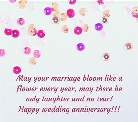 Warm and best wishes on Wedding anniversary. I congratulate you on such a wonderful event; May your marriage bloom like a flower every year, May there be only laughter and no tear! Happy wedding anniversary!!! Free Download 2021 greeting card
