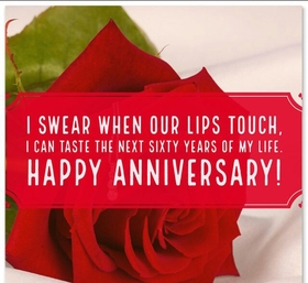 Wedding anniversary's card for dear wife. Download image. Beautiful card with red rose and warm regards to beloved wife. I swear when I touch your lip I can feel next sixty years of my life! Free Download 2021 greeting card