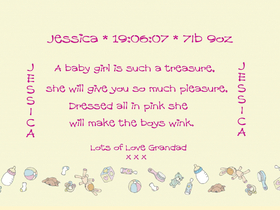 Baby's birth. Ecard. Baby girl is such a treasure. She will give you so much pleasure. Baby girl. A new born baby wishes. Free Download 2021 greeting card