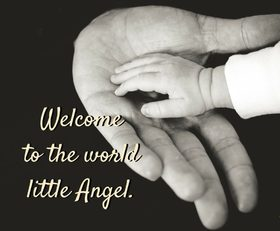 Welcome to the world little Angel. Ecard. New born baby postcards. A little angel. Congratulations on a new baby. Welcome to the world angel. Free Download 2018 greeting card