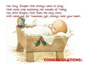 Congratulations. New born baby. Ecard for free. Ten tiny fingers that always want to pray, that never stop exploring, the wonder of today. Free Download 2021 greeting card