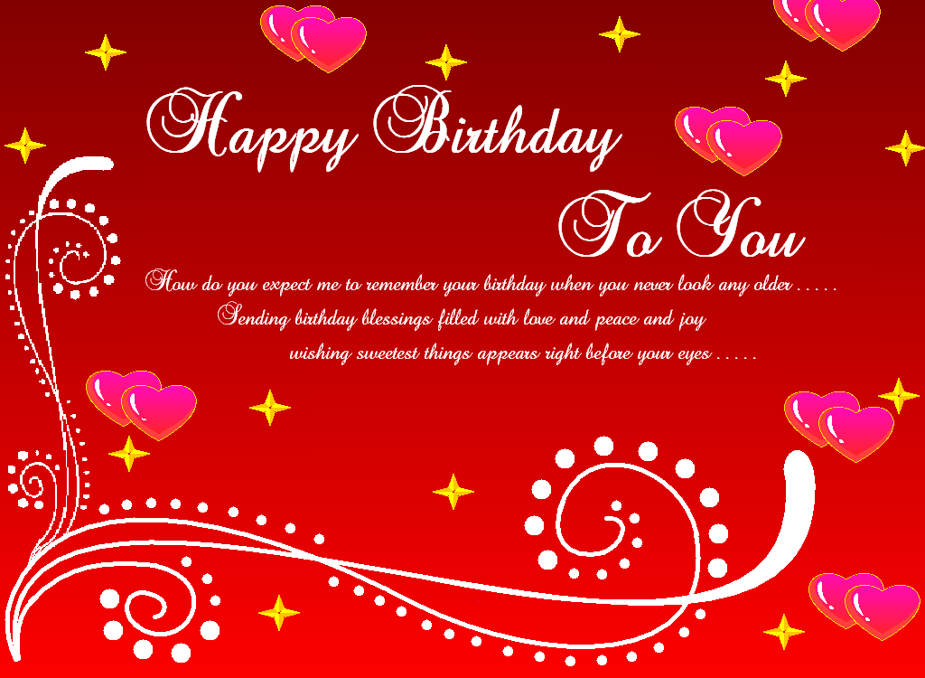Happy Birthday To You Greeting Card Red ECard Stars Hearts The Best For