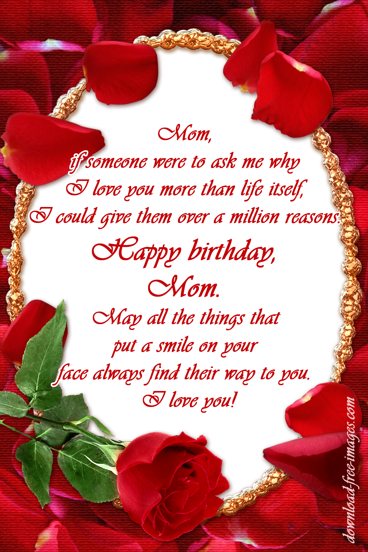 Happy Birthday Wishes For My Mom I Love You Red Roses Ecard The Best Greeting Card