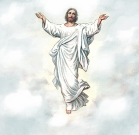 Ascension day. Greeting card for you. On the fortieth day after his death, Jesus asked the disciples to gather in Jerusalem, where he ascended to heaven, and the angels appeared to the apostles. Free Download 2020 greeting card