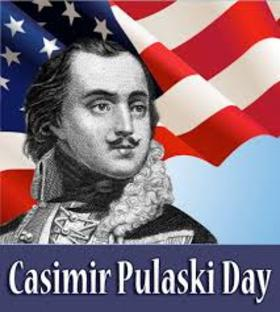 Casimir Pulaski day. Card for you. Portrait of Casimir... American flag... Free Download 2018 greeting card