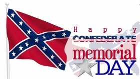 Confederate memorial day... New card... A postcard with a flag... a staff... a star... and an unusual inscription! Free Download 2019 greeting card