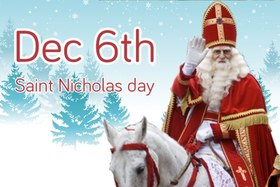 Dec 6th. Saint Nicholas. A blond in a red coat. On horseback. Free Download 2019 greeting card