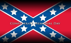 Happy Confederate memorial day... New ecard... Very beautiful red background with blue stripes and white stars... Free Download 2019 greeting card