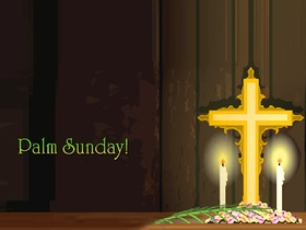 Happy palm sunday 2019... card for them... An image with an inscription and crosses and beautiful candles... Free Download 2019 greeting card